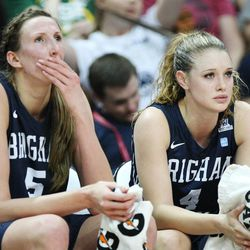 Brigham Young Cougars center Jennifer Hamson (5) and Brigham Young Cougars guard Kim Beeston (4) watch the final minute of the game during the West Coast Conference championship game in Las Vegas Tuesday, March 11, 2014. BYU lost 71-57.