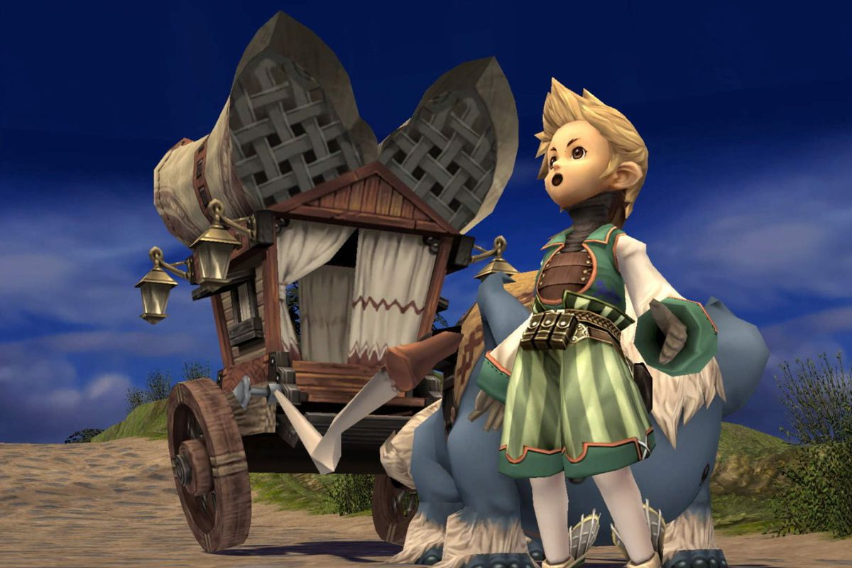 The main character from Crystal Chronicles stands in front of a caravan, shocked