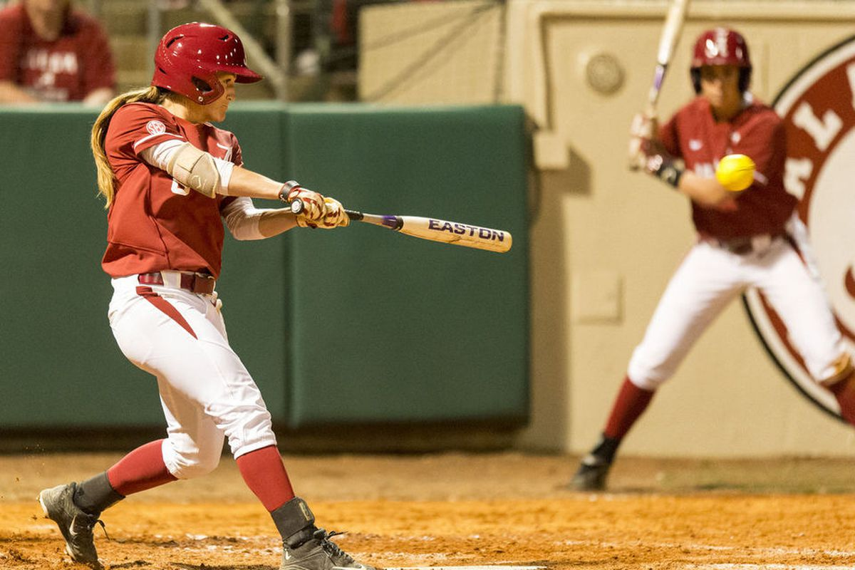 Alabama star Haylie McCleney drives in insurance runs on a bases clearing triple in Alabama's win over the Florida Gators Monday night.