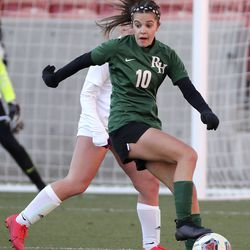 Rowland Hall plays Real Salt Lake Academy in the 2A girls soccer championship game at Rio Tinto Stadium in Sandy on Monday, Oct. 26, 2020. Rowland Hall won 3-2.