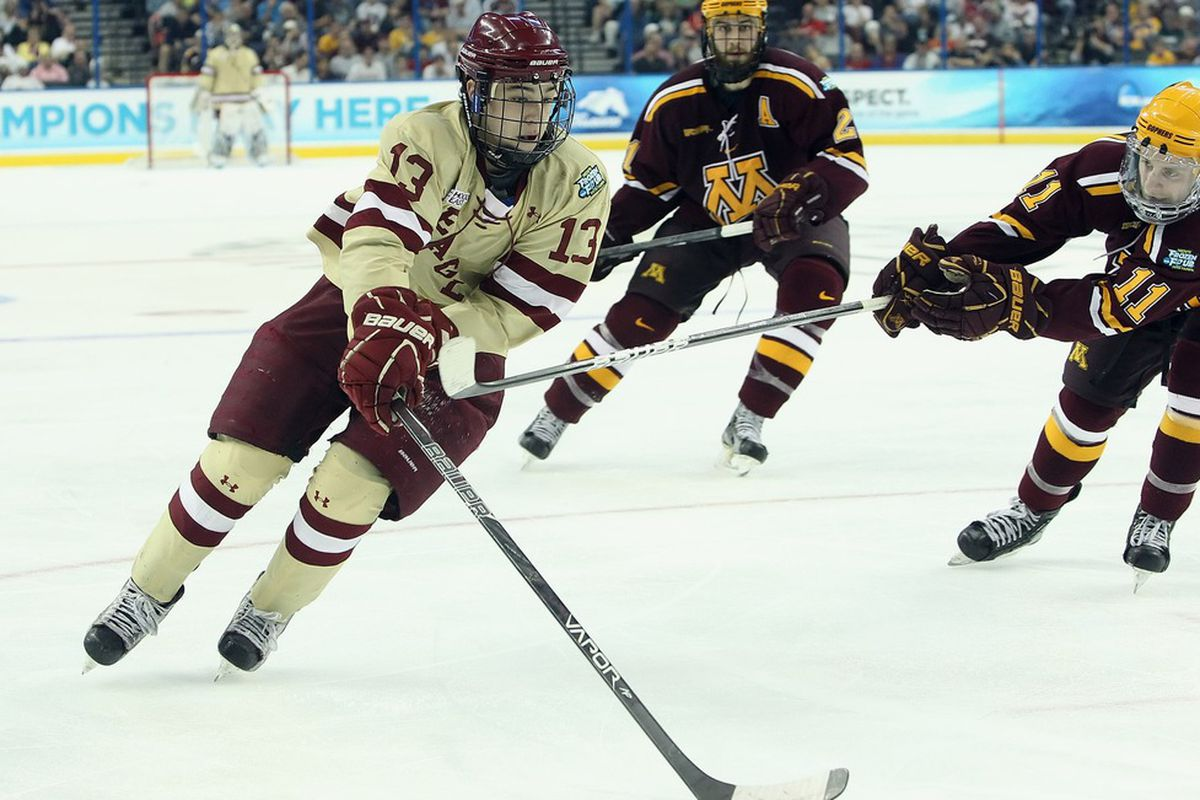 Johnny Gaudreau (13) and Sam Warning (11) lead their teams against one another next weekend
