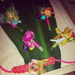 """Colorful floral accoutrements by LA floral designer <a href=""""http://instagram.com/twigandtwine"""">@twigandtwine</a>."""