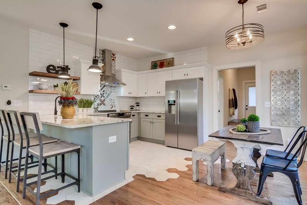A photo of the kitchen area of a West End bungalow now on the market.