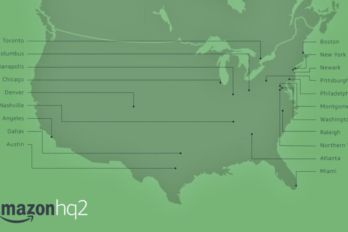 A rendering of the 20 cities left standing in Amazon-a-palooza.