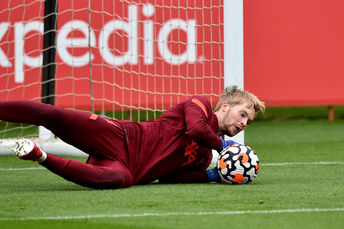 Caoimhin Kelleher of Liverpool during a training session at AXA Training Centre on September 23, 2021 in Kirkby, England.