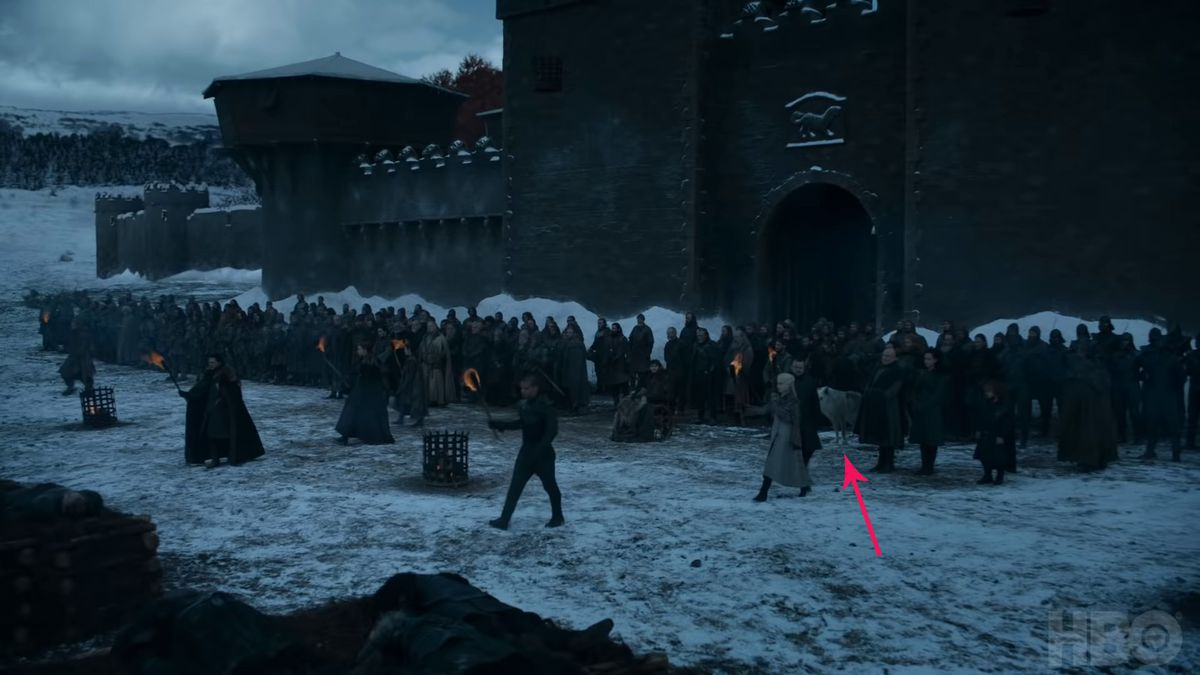 Game of Thrones season 8 episode 4 preview - Ghost with arrow pointing to it