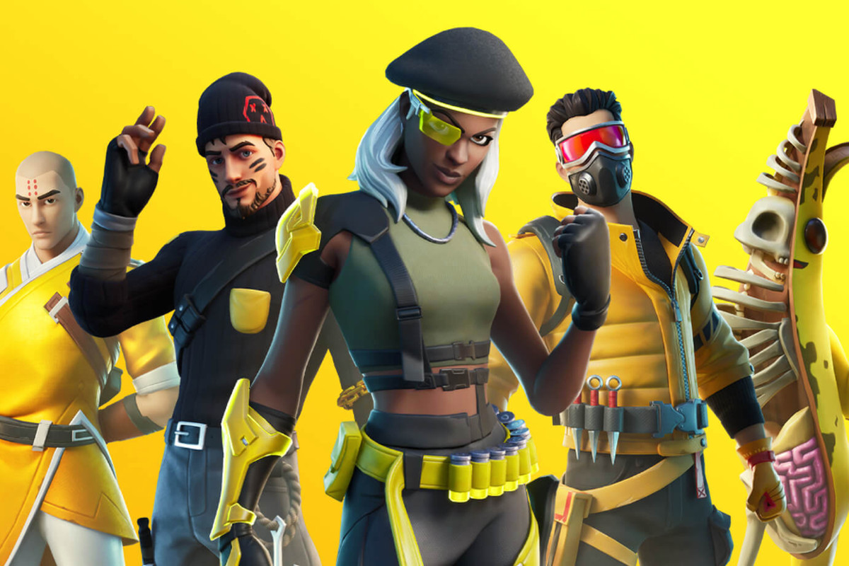 Colorful Fortnite avatars in strange costumes against a yellow background