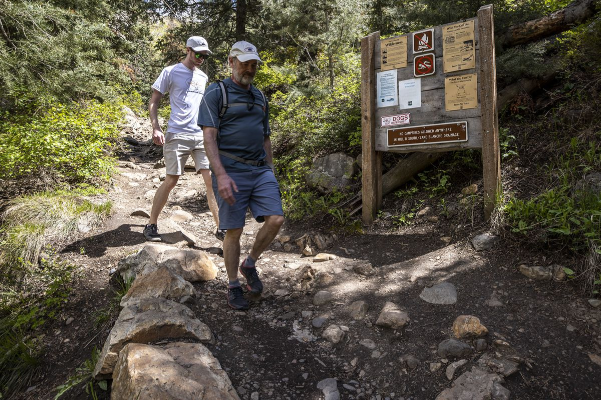 Ben Chisholm and his dad, Scott Chisholm, pass an information sign as theyhike theLake Blanche Trail in Big Cottonwood Canyon.