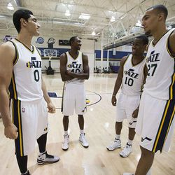 Enes Kanter, Jeremy Evans, Alec Burks, and Rudy Gobert, talk as the Utah Jazz hold their media day Monday, Sept. 29, 2014, in Salt Lake City at the Zions Bank basketball center.