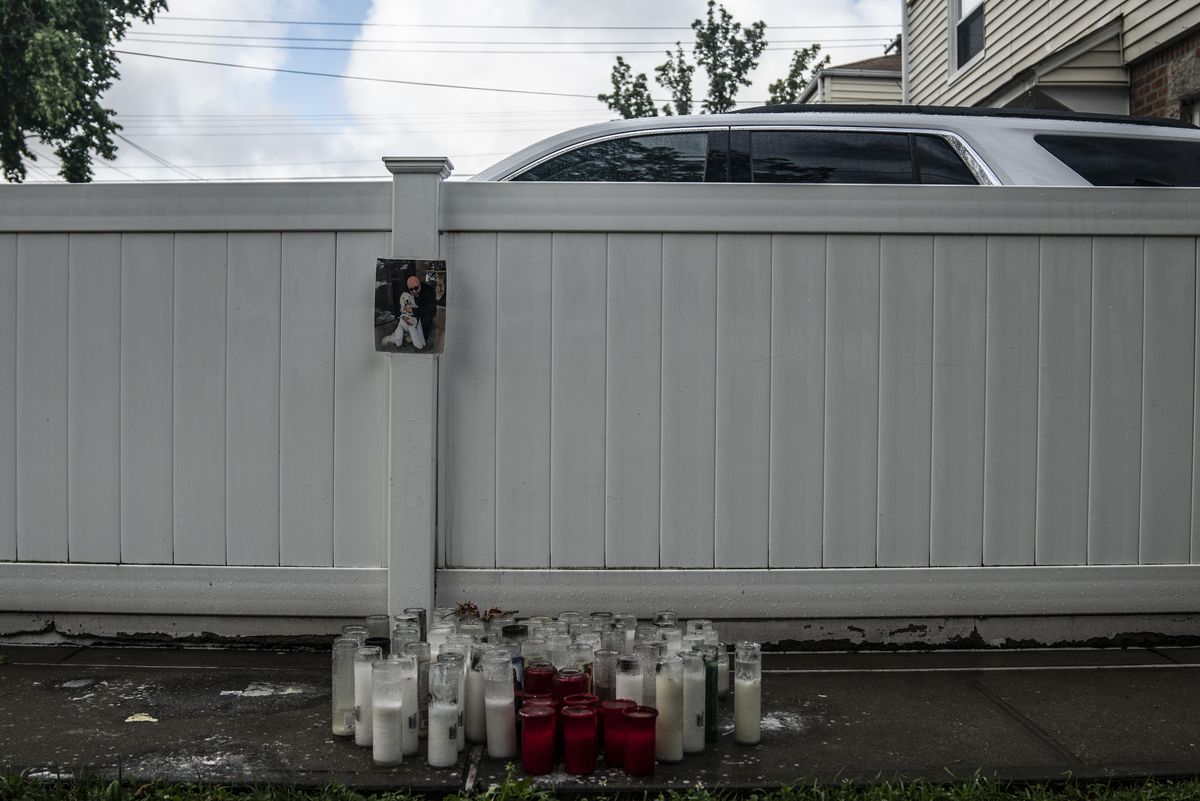 Athanasia Zapantis created a memorial for her son, George, at their Queens home after he NYPD officers tased him multiple times and he died, July 10, 2020.