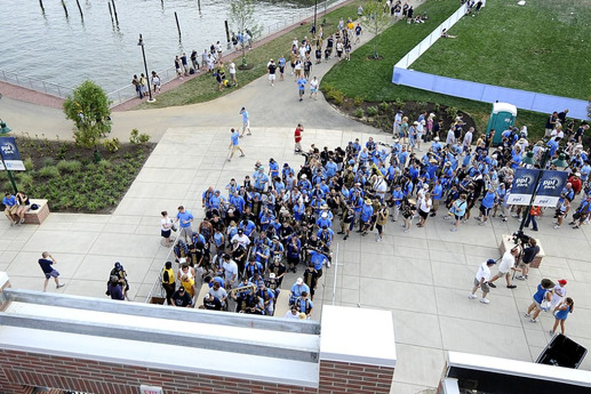 CHESTER, PA - JUNE 27:  Fans of the Philadelphia Union line up to enter PPL Park before a match against the Seattle Sounders FC at the PPL Park stadium opener on June 27, 2010 in Chester, Pennsylvania.  (Photo by Jeff Zelevansky/Getty Images)