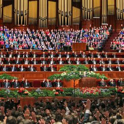The sustaining vote at the afternoon session of the 183rd Semiannual General Conference of The Church of Jesus Christ of Latter-day Saints Saturday, Oct. 5, 2013, in Salt Lake City.