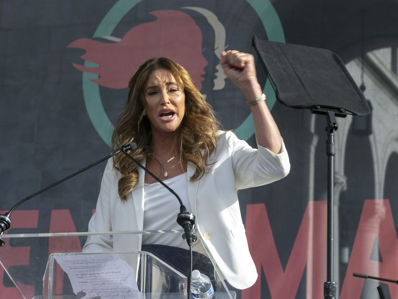 Caitlyn Jenner speaks at the 4th Women's March in Los Angeles in March 2020.