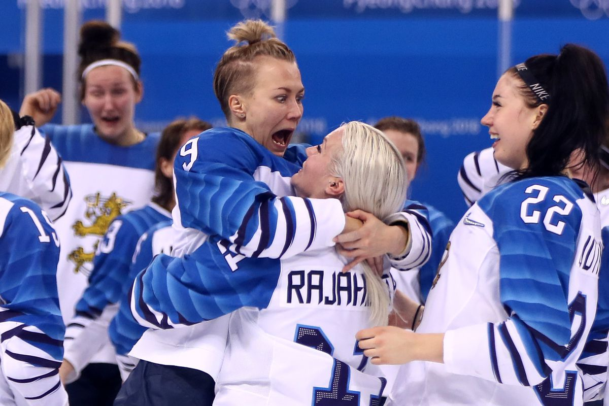 FEBRUARY 21: Venla Hovi #9 of Finland celebrates with Annina Rajahuhta #11 after defeating Olympic Athletes from Russia 3-2 during the Women's Ice Hockey Bronze Medal game on day twelve of the PyeongChang 2018 Winter Olympic Games at Kwandong Hockey Centr