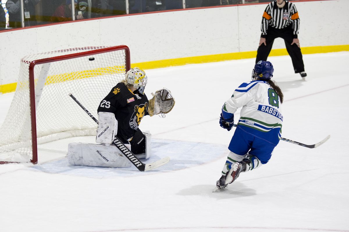 Connecticut Whale forward Kelly Babstock goes bar down to win the game in a shootout during a game in Stamford, CT on Nov. 19, 2017. (Photo by Michelle Jay)