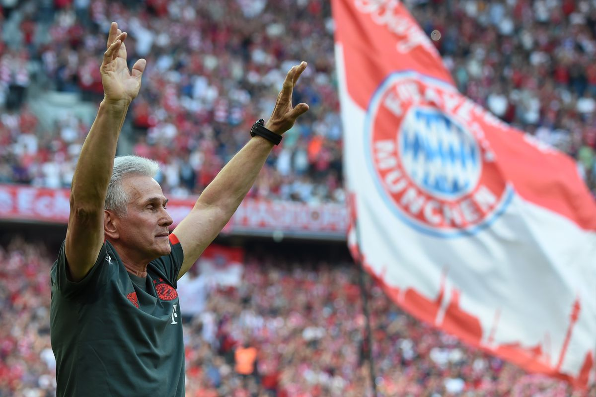 Bayern Munich's German head coach Jupp Heynckes waves to the fans during a farewell ceremony prior to the German first division Bundesliga football match FC Bayern Munich vs VfB Stuttgart in Munich, southern Germany, on May 12, 2018.