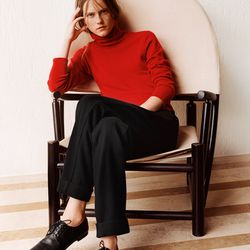Cashmere long turtleneck sweater, $129.90; wool cashmere wide pants, $69.90
