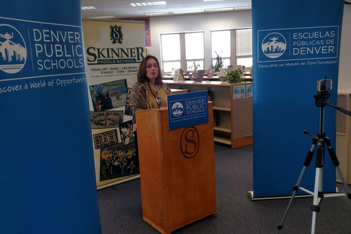Acting Superintendent Susana Cordova talks about school choice at Skinner Middle School.