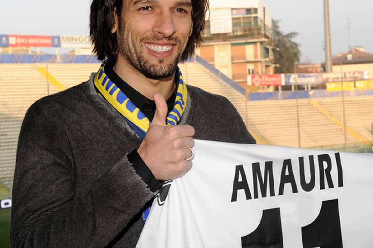 PARMA ITALY - FEBRUARY 01:  Amauri Signs For FC Parma at Stadio Ennio Tardini on February 1 2011 in Parma Italy.  (Photo by Claudio Villa/Getty Images)