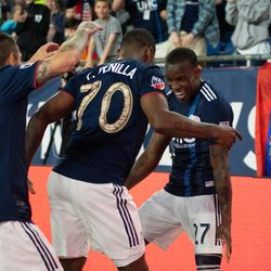FOXBOROUGH, MA - MAY 11: New England Revolution forward Cristian Penilla #70 dances with midfielder Luis Caicedo #27 after Penilla's goal during the first half against the San Jose Earthquakes at Gillette Stadium on May 11, 2019 in Foxborough, Massachusetts. (Photo by J. Alexander Dolan - The Bent Musket)