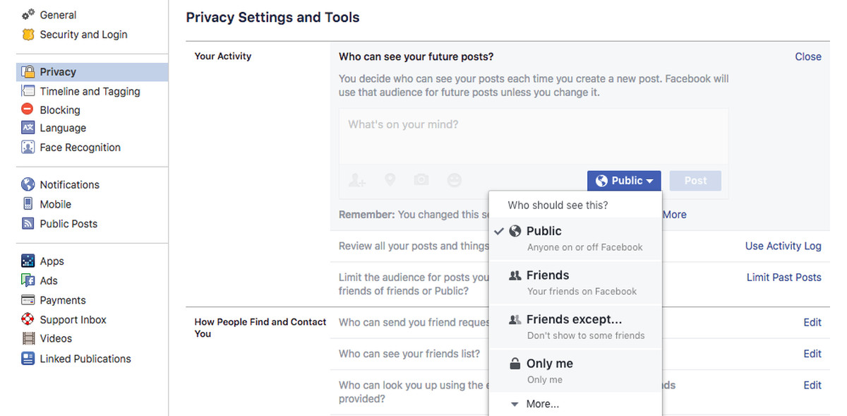 "Toggling everything to ""friends only"" is a good option to restrict who can  see your posts"