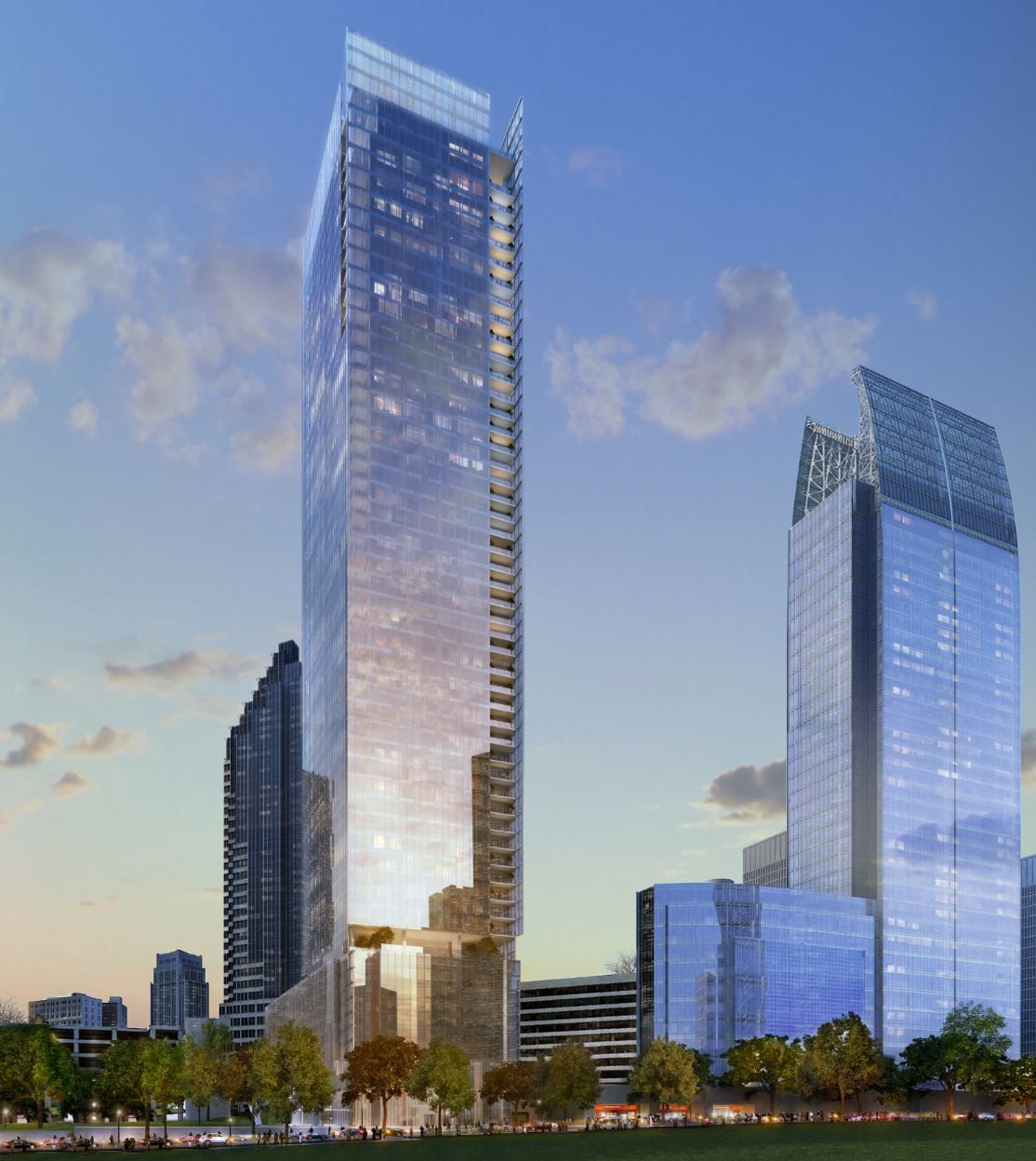 A rendering showing the all-glass 53-story tower next to the curving Symphony Tower.