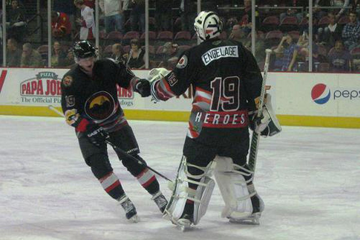 Justin Pender & Andrew Engelage in the specialty jerseys honoroing the Yarnell 19