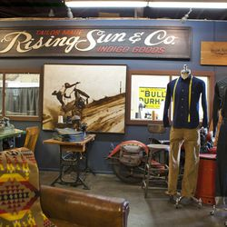 Hot rods and vintage bikes add inspiration to the line and flare to the shop.
