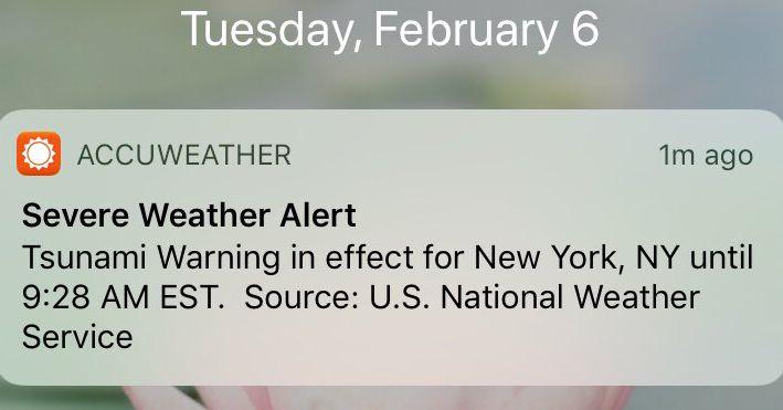 AccuWeather Error Sends False Tsunami Warnings Along the East Coast