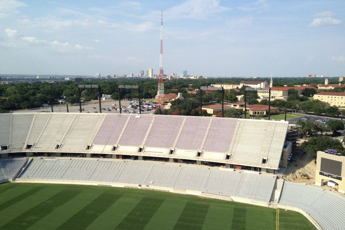 Have you been wondering what the skyline will look like form the top of the new Amon G. Carter stadium? Well, here you go. You're welcome, America.