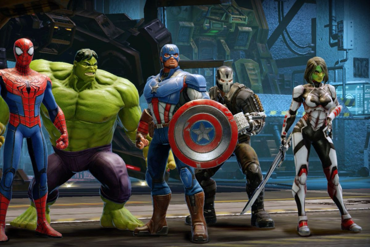 Spider-Man, The Hulk, Captain America, Crossbones, and Gamora line up before a battle.