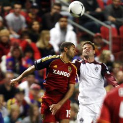 Real Salt Lake's Alvaro Saborio battles for control of the ball against Colorado's Drew Moor during their MLS match at Rio Tinto Stadium in Sandy on Saturday. RSL held the Rapids scoreless.