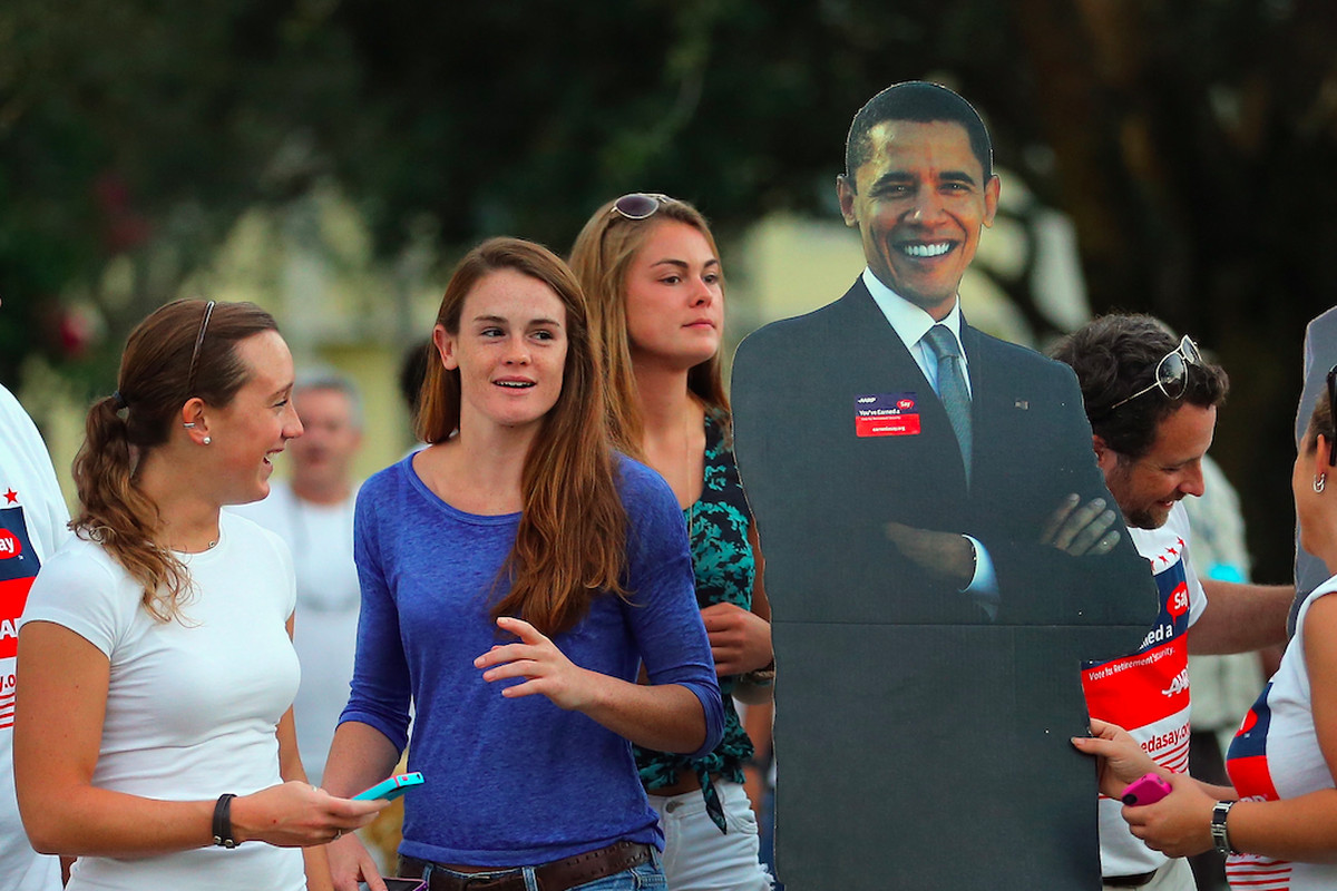 Florida college students before a 2012 presidential debate.