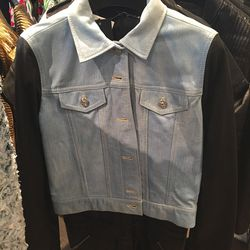 Leather and denim jacket, $461 (was $1,845)
