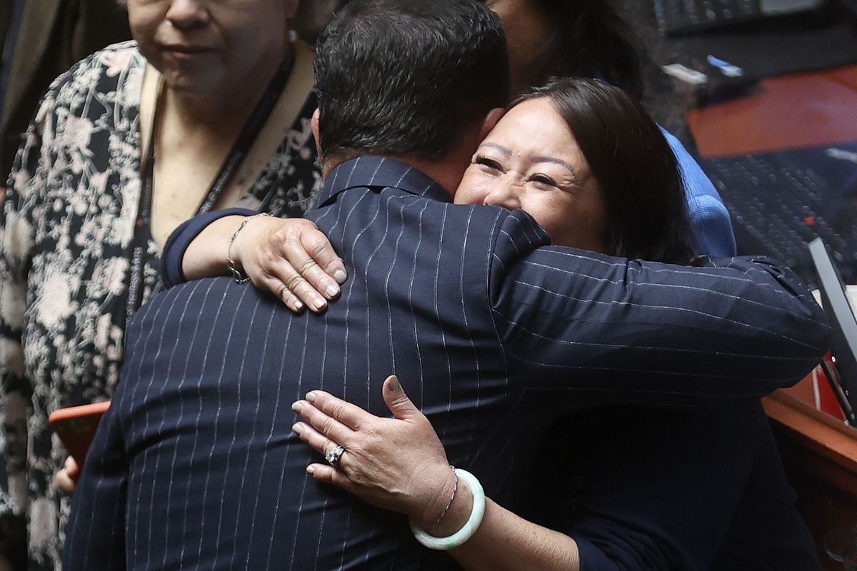 House Speaker Brad Wilson hugs Rep. Karen Kwan after Kwan's resolution honoringAsian American and Pacific Islander communitiespassed unanimously in the House during a special session of the Legislature.