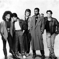 """Holly Robinson, left, Dustin Nguyen, Peter DeLuise, Steven Williams and Johnny Depp in """"21 Jump Street."""" The first season is now on DVD."""