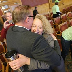 Salt Lake City Mayor-elect Jackie Biskupski hugs state Sen. Jim Dabakis after the Salt Lake City Council, acting as the city's board of canvassers, certified final election results on Tuesday, Nov. 17, 2015, at the City-County Building. Biskupski beat Mayor Ralph Becker by 1,194 votes — 51.55 percent to 48.45 percent — with more than 38,000 votes cast.