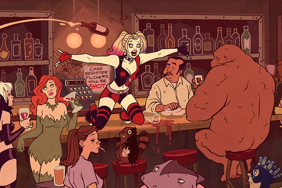Harley Quinn TV show - Harley in a bar with Poison Ivy, Clayface and more