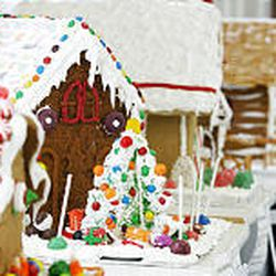 A row of gingerbread houses sit on display at the Children's Justice Center.