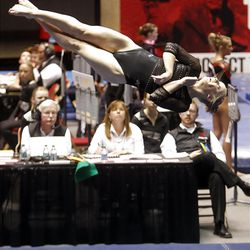 Utah's Georgia Dabritz performs on the floor during the NCAA Salt Lake Regional Gymnastics Saturday, April 7, 2012 in Salt Lake City.