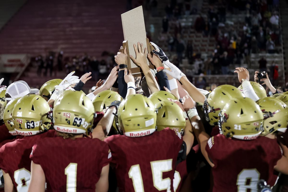 Juab players celebrate their win over Morgan in the 3A football championship game at Dixie State University in St. George on Saturday, Nov. 14, 2020.