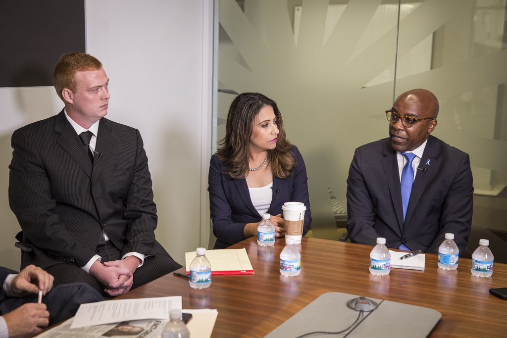 From left, Illinois Attorney General nominees Bubba Harsy (L), Erika Harold (R) and Kwame Raoul (D) at a Sun-Times Editorial Board forum Tuesday, Sept. 18, 2018. | Rich Hein/Sun-Times