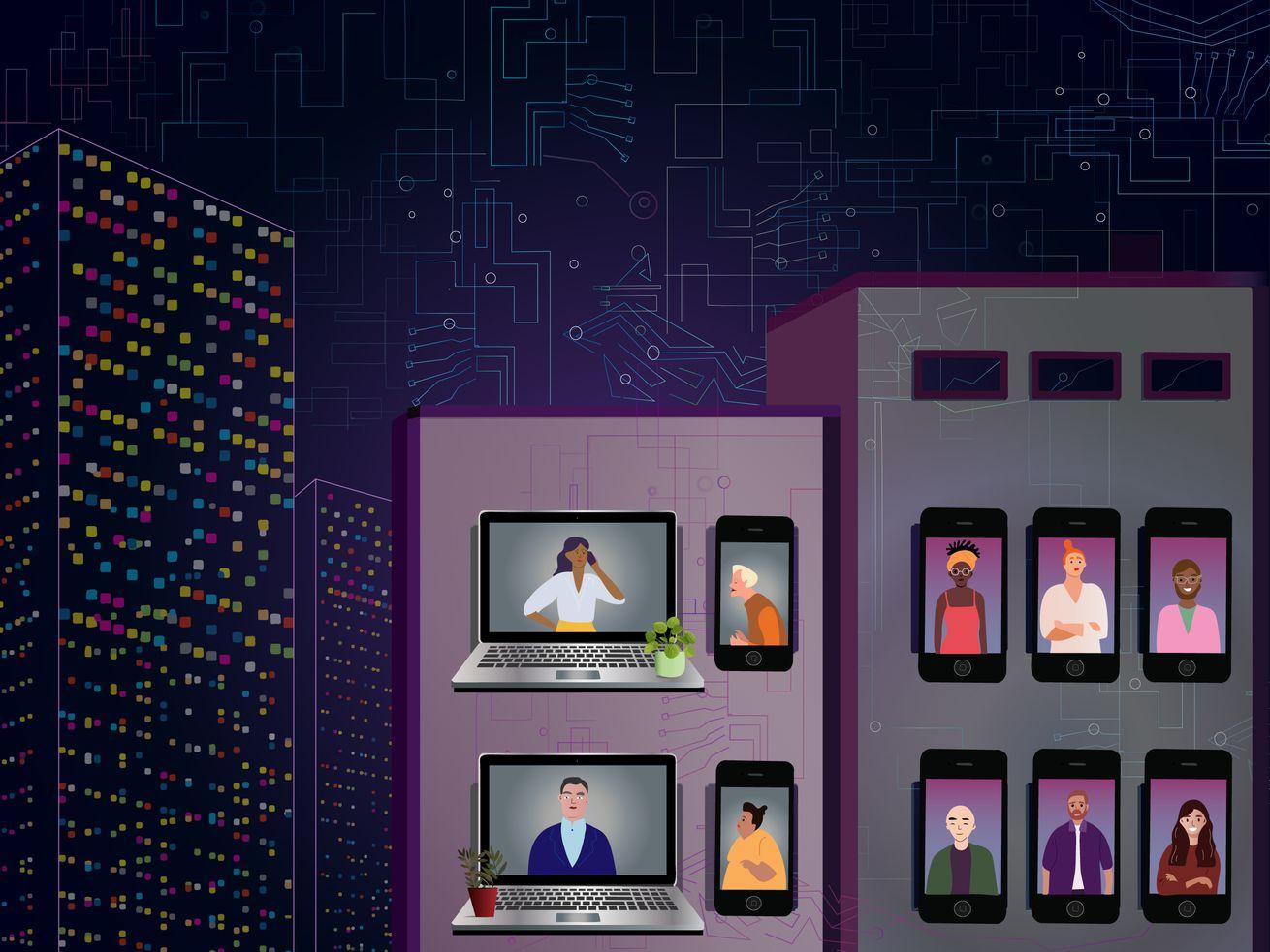 Une illustration stylisée montrant de grands bâtiments la nuit - mais au lieu de fenêtres, il y a des téléphones et des ordinateurs portables montrant des gens qui se parlent.