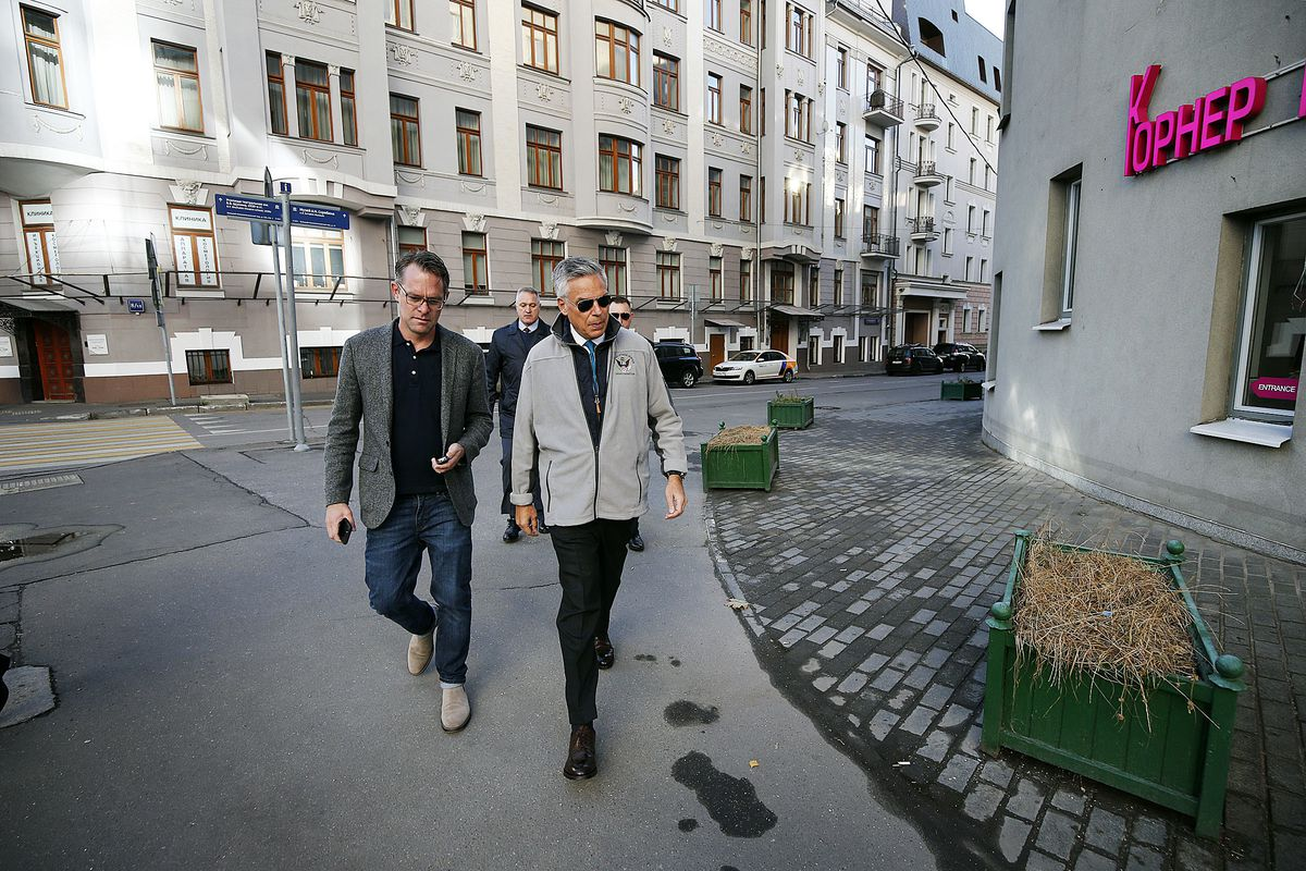 Deseret News reporter Jesse Hyde joins U.S. Ambassador Jon M. Huntsman Jr. on his walk to work to the U.S. Embassy in Moscow, Russia, on Tuesday, Sept. 25, 2018.