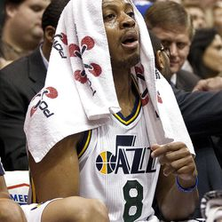 Jazz guard Randy Foye (8) looks on from the sideline during the first half of the NBA basketball game between the Utah Jazz and the Golden State Warriors at Energy Solutions Arena, Wednesday, Dec. 26, 2012.