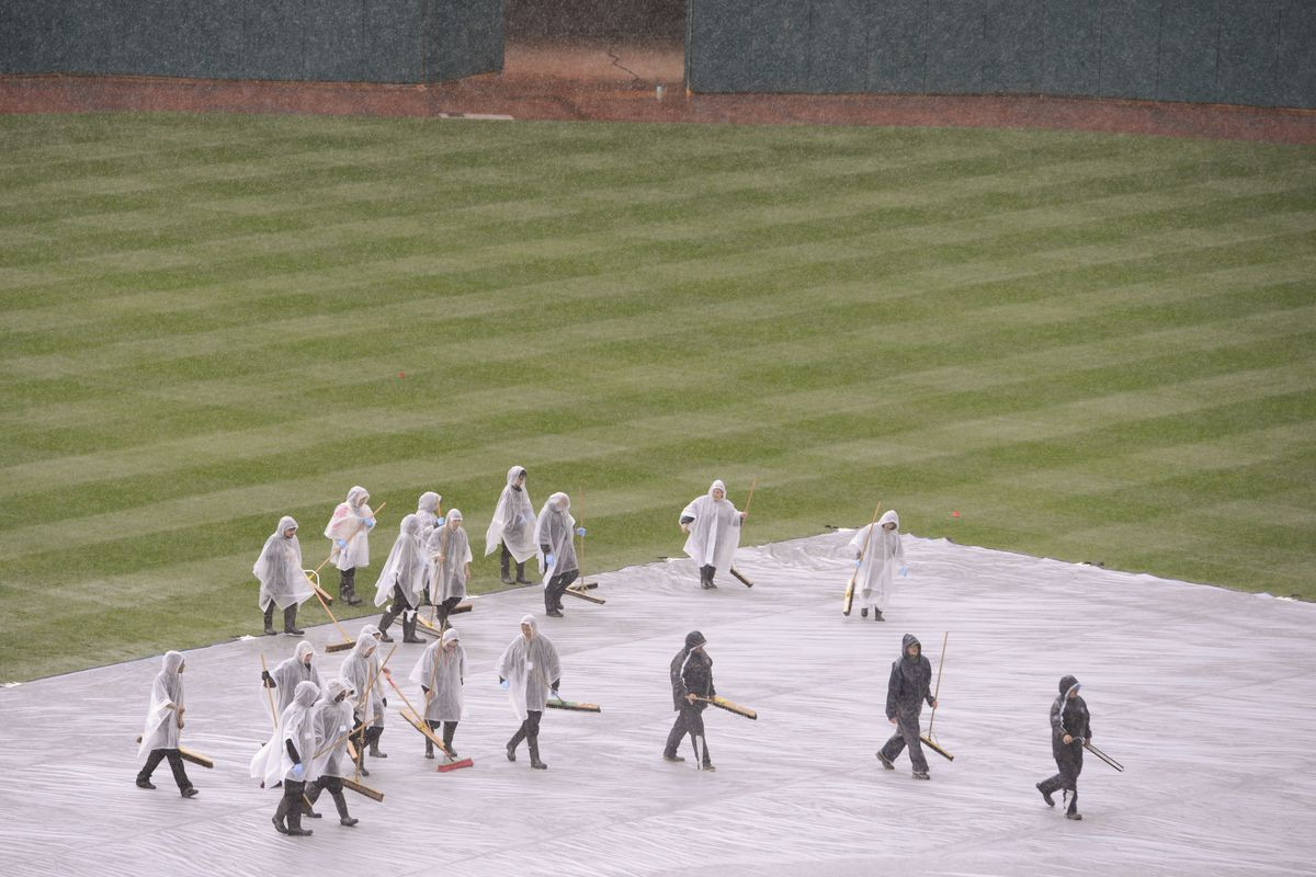 Sometimes, the tarp isn't removed. Tuesday was one of those days. (But this photo is from Monday)
