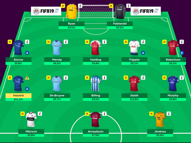 Official FPL team screen — My new squad