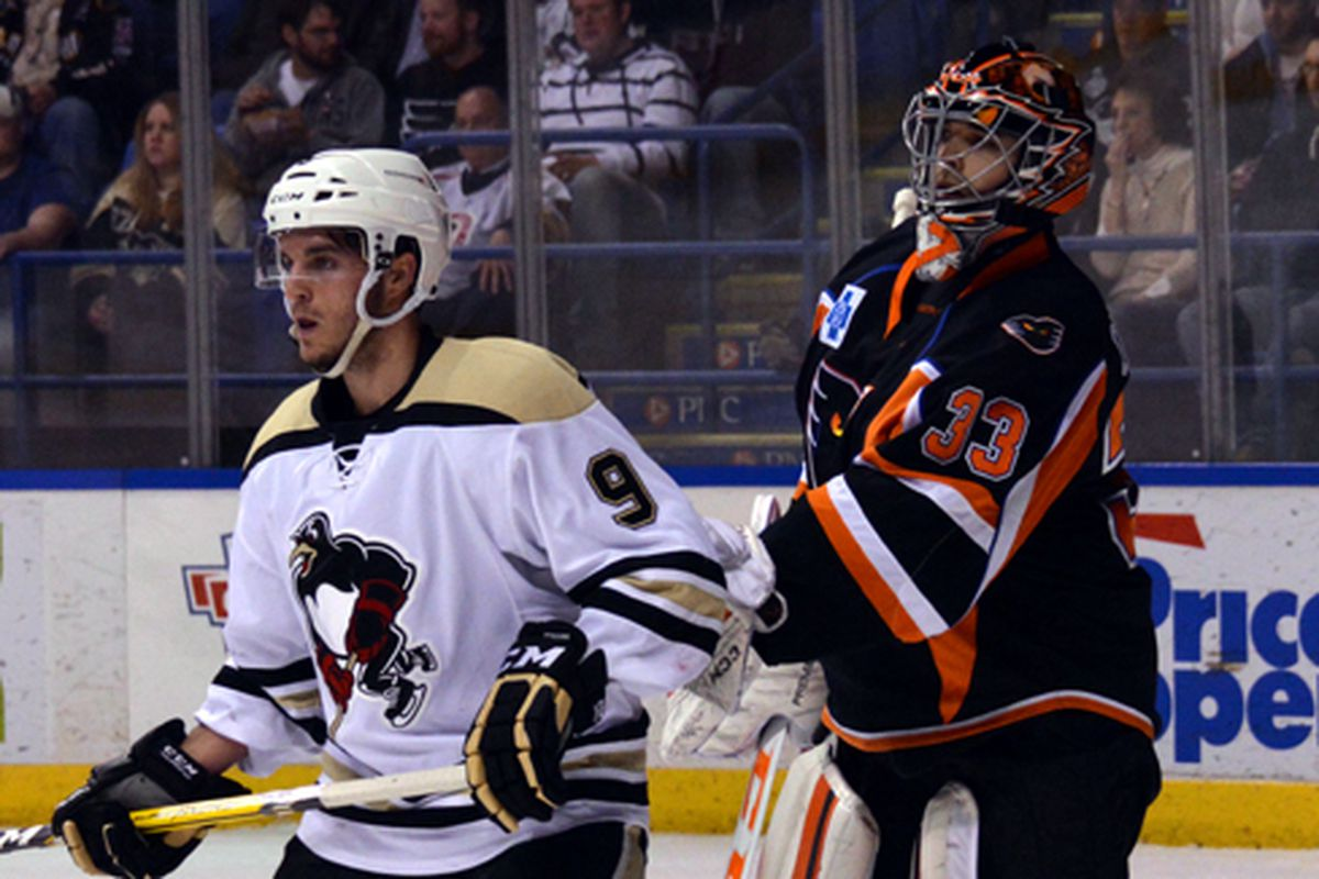 J.S. Dea stands in front of the net against the Lehigh Valley Phantoms