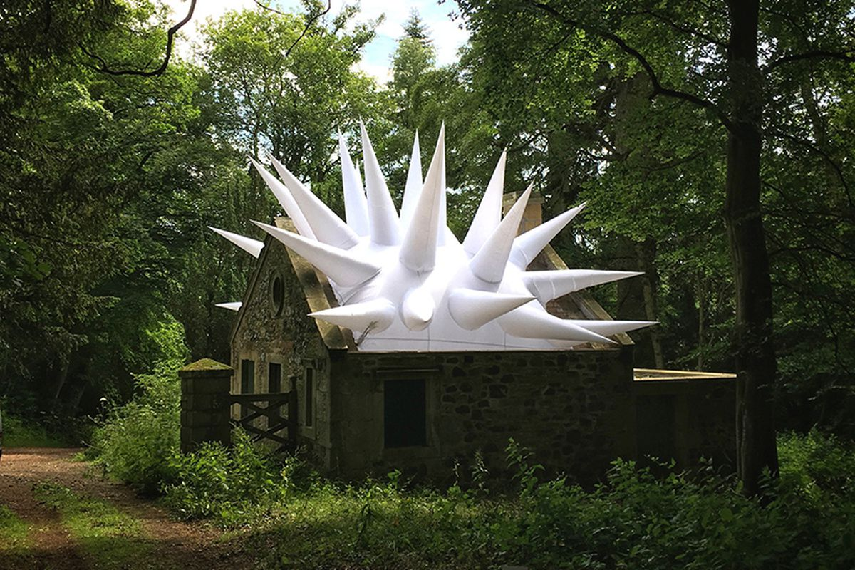 inflatables in Scottish ruins