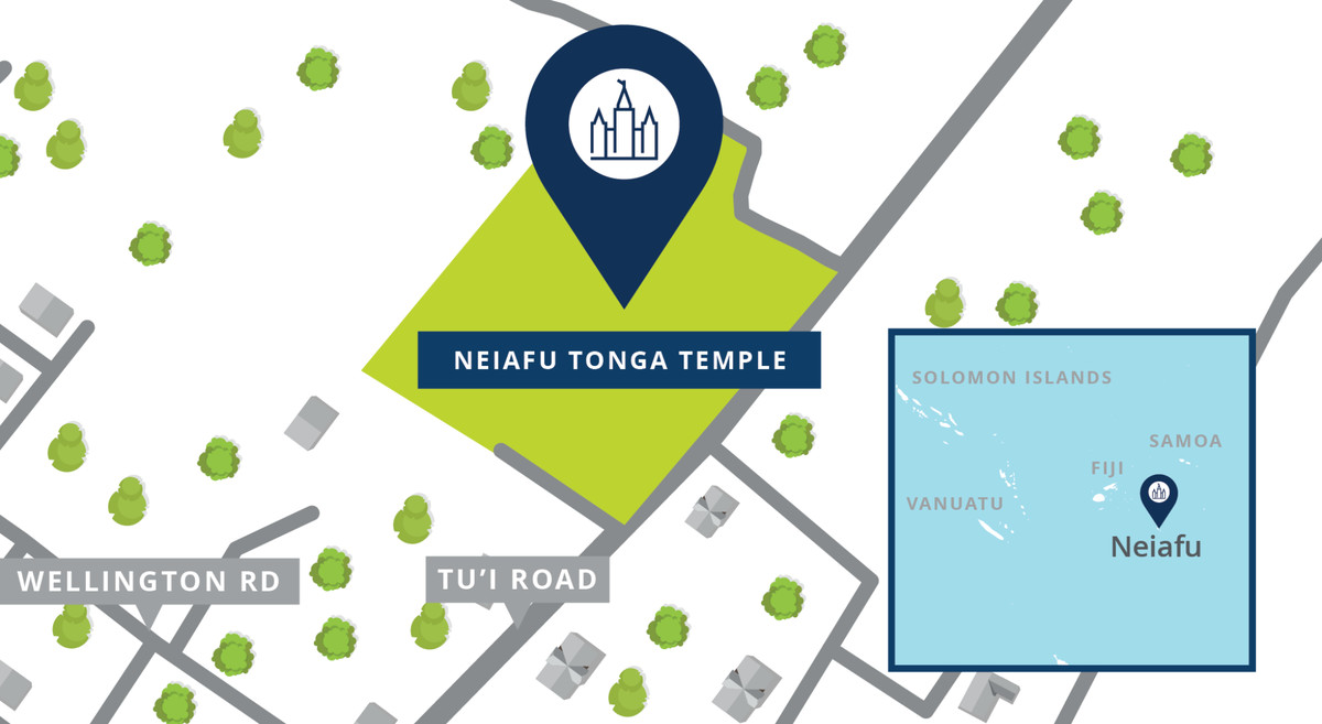 A map shows the location of the Neiafu Tonga Temple.